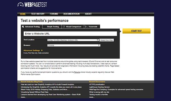 test de velocidad carga wordpress