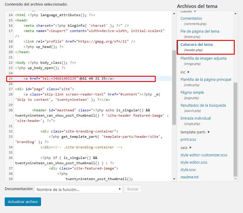 link tel html en la cabecera