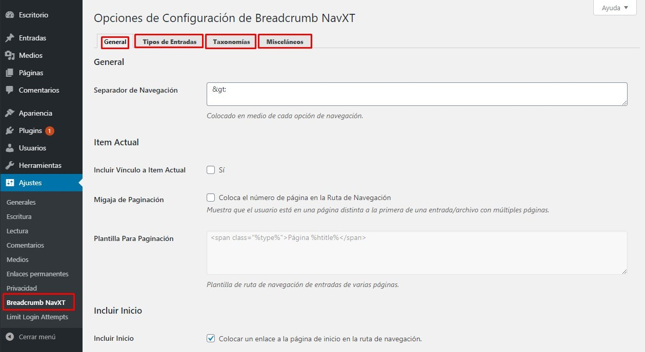 configurar plugin breadcrumb navxt