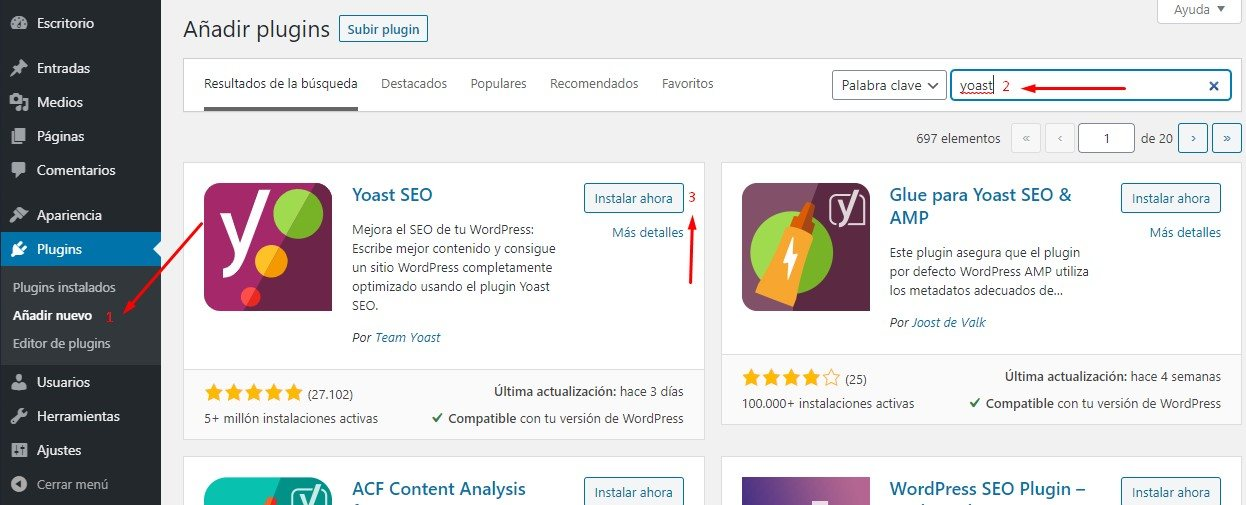 instalar yoast seo wordpress