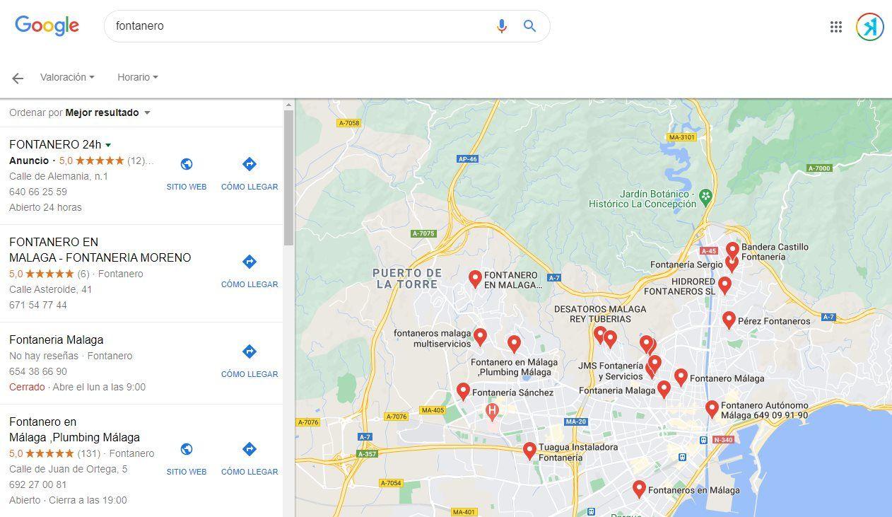 fichas de empresa google maps