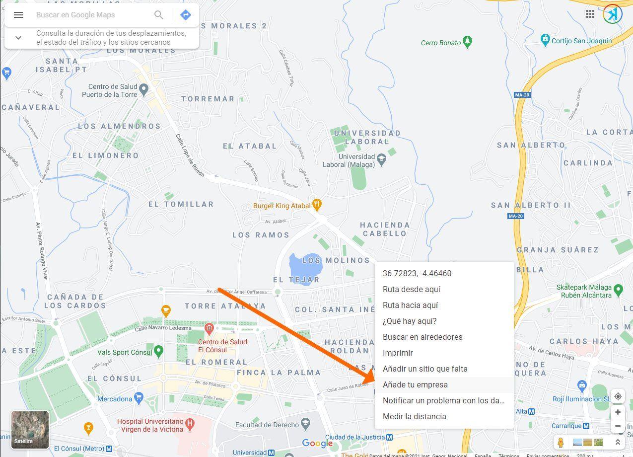 anadir ficha de negocio desde google maps