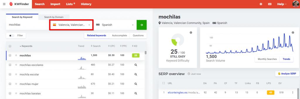 herramienta keyword research seo local